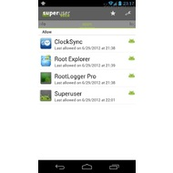 The list of rooted apps in Superuser