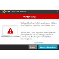 Warning screen of Avast Free Antivirus 2015