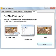 Help tab of RarZilla Free Unrar