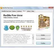 About tab of RarZilla Free Unrar
